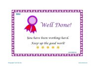 Teacher Resources, Certificates for kids - Well Done, Working Hard, free homeschool worksheets