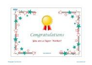 Teacher Resources, Certificates for kids, free homeschool worksheets, Worksheets for kids - congratulations, super worker certificate