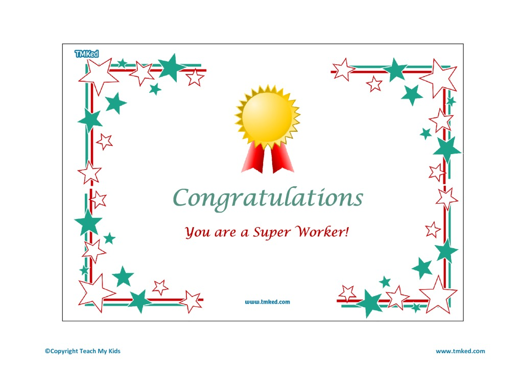 Congratulations, Super Worker Certificate - TMK Education