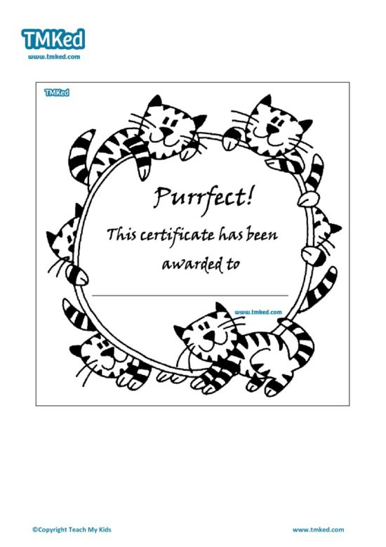 Teacher Resources, Certificates for kids, free homeschool worksheets, purrfect certificate