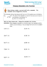 Worksheets for kids - changing-remainders-into-fractions