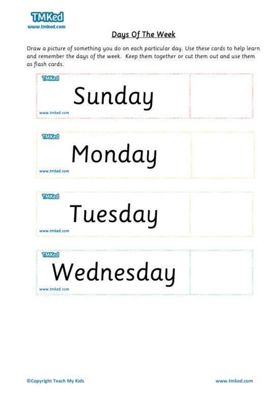 Worksheets for kids - days of week