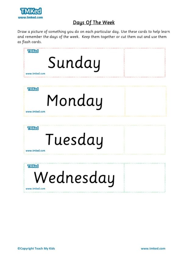 Worksheets for kids - days of week
