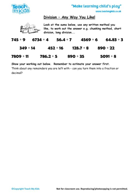 Worksheets for kids - division-any-way-you-like
