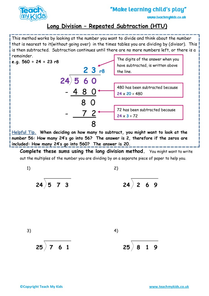 Long Division - Repeated Subtraction htu - TMK Education