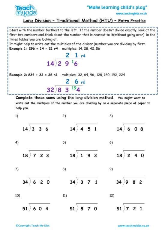 Worksheets for kids - long-division-traditional-method-htu-extra