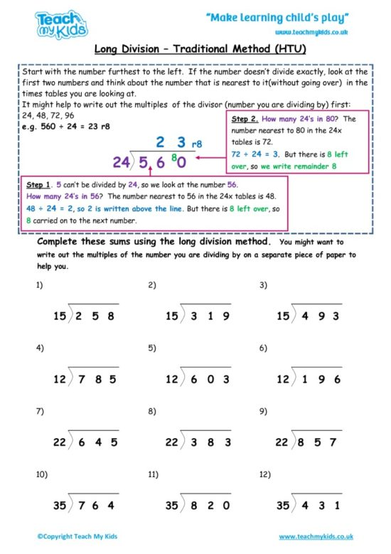 Worksheets for kids - long-division-traditional-methodhtu