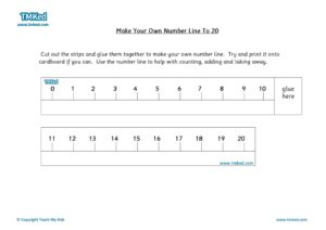 Maths Help, Teacher resources, free home school worksheets, Key stages 1 Worksheets for kids - make your own number line to 20