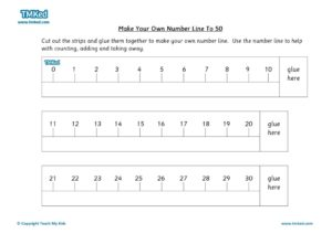 Maths Help,Teacher resources, free home school worksheets, Key stages 1 Worksheets for kids - make your own number line to 50
