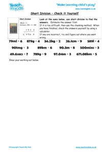 Worksheets for kids - short-division-check-it-yourself