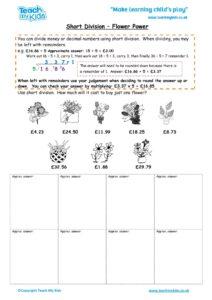 Worksheets for kids - short-division-flower-power