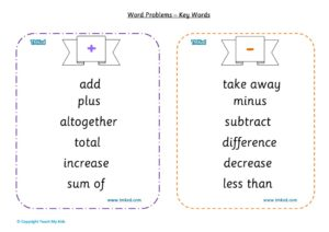 Maths Help,Teacher resources, free home school worksheets, Key stage 2 Worksheets for kids - word problems -key words