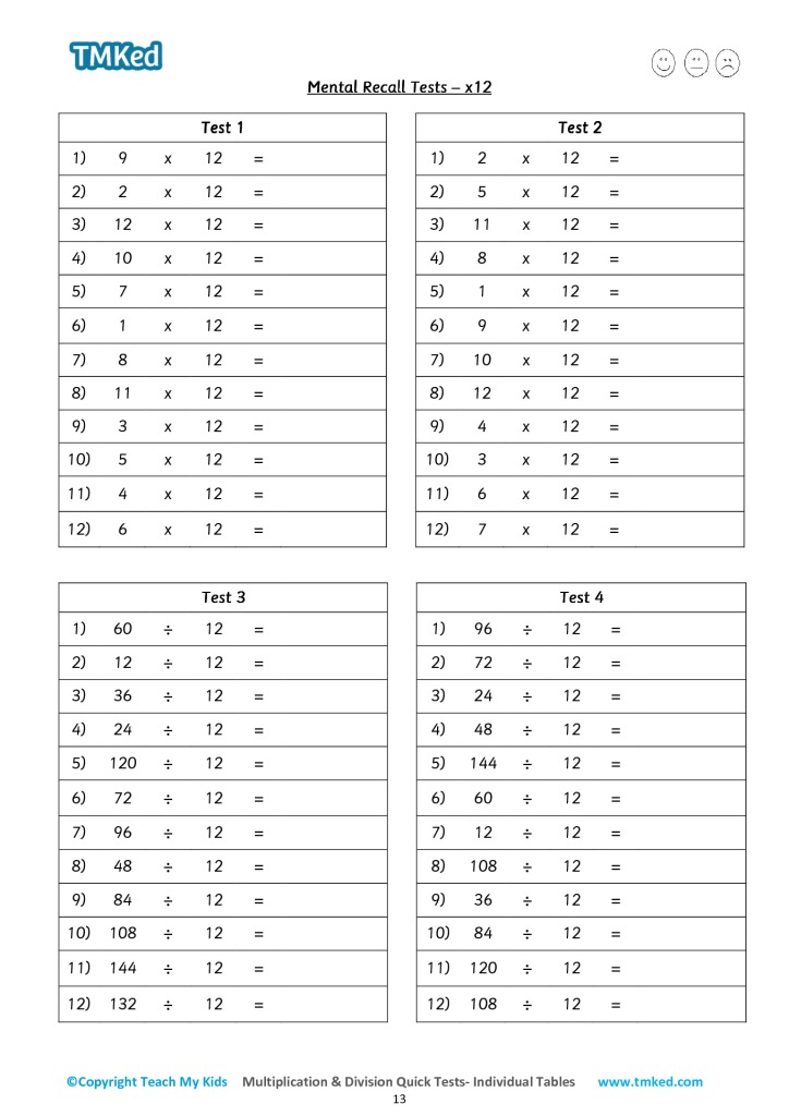 Multiplication Division Quick Tests Individual Tables