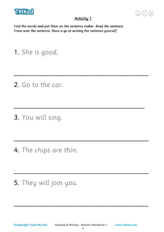 reading and writing booster workbook 1, keywords and sentences