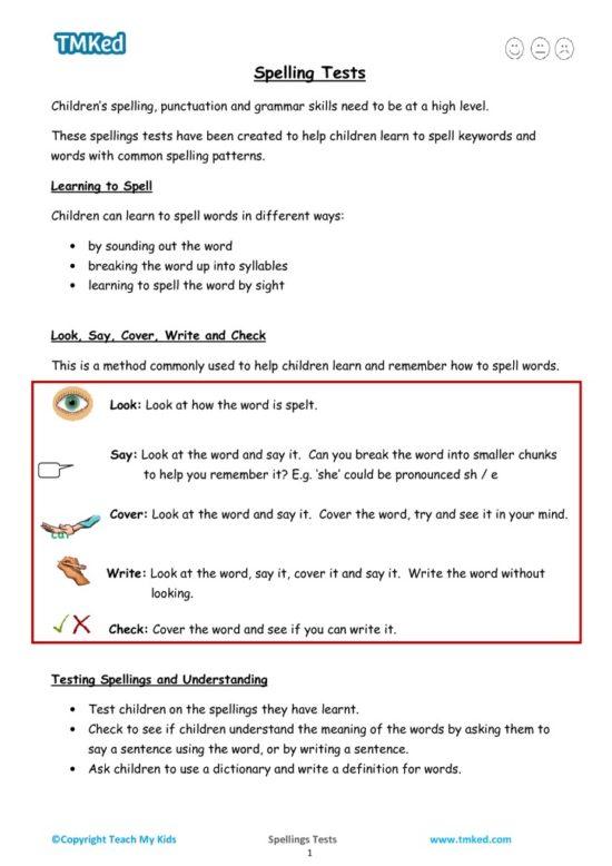 spelling tests 7-9, spelling strategies