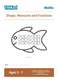 Numeracy workbook - shape, measures, fractions workbook, ks1, 5-7