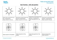 sun fractions- half, quarters and three quarters