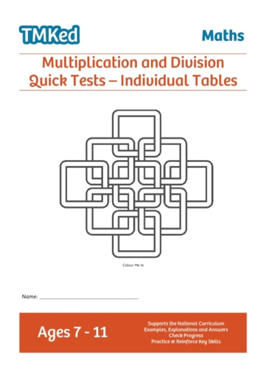 KS2 maths worksheets for kids - multiplication and division quick tests, 7-11 years
