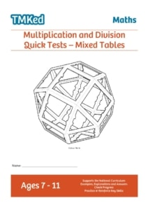 KS2 maths worksheets for kids - multiplication and division quick tests, mixed questions, 7-11 years