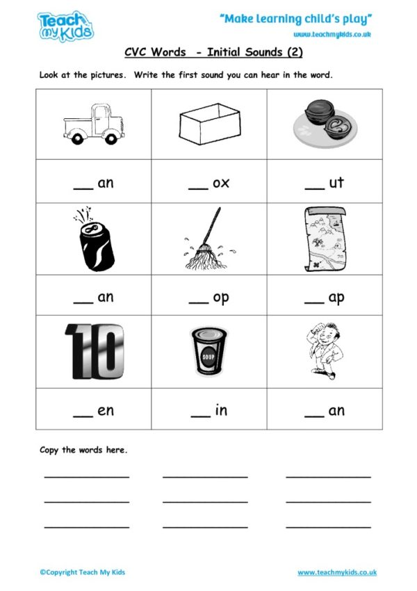 Worksheets for kids - cvc-words-initial-sounds-2