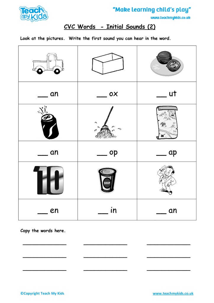 Printable Worksheets writing cvc words worksheets : CVC Words - Initial Sounds 2 - TMK Education