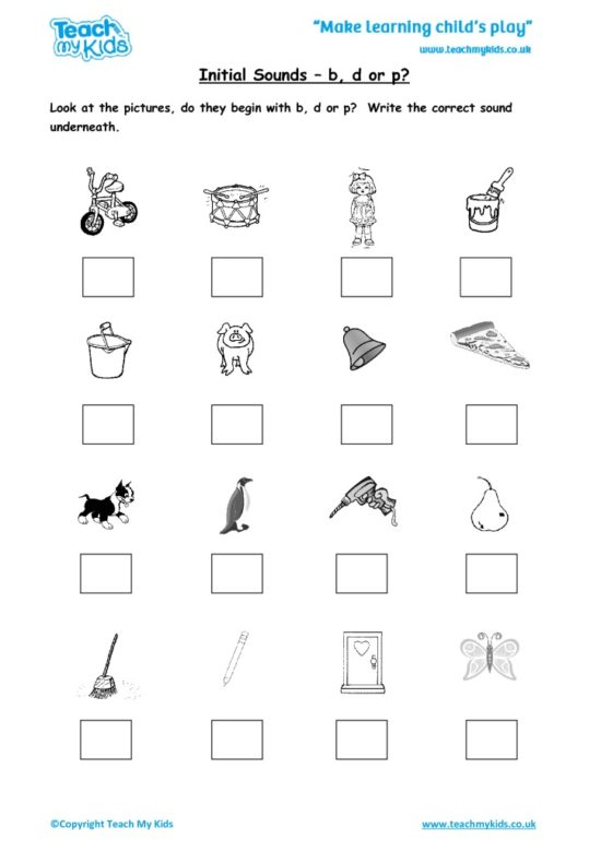 Worksheets for kids - initial-sounds-bd-or-p