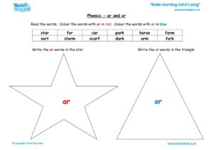 Worksheets for kids - or-and-ar