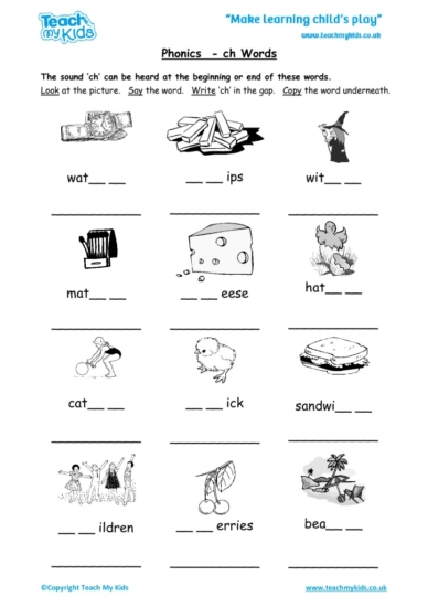 Worksheets for kids - phonics-ch-words