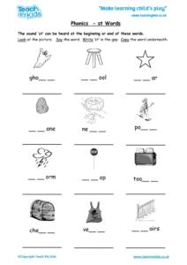 Worksheets for kids - phonics-st-words
