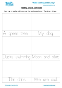 Worksheets for kids - reading-simple-sentences