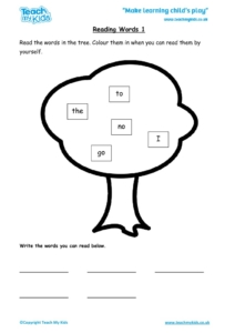 Worksheets for kids - reading-words-1