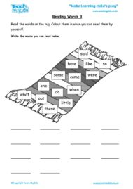 Worksheets for kids - reading-words-3