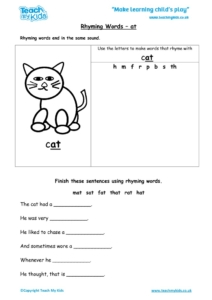 Worksheets for kids - rhyming-words-at