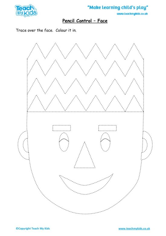 Worksheets for kids - pencil control – face