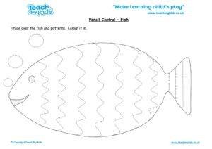 Worksheets for kids - pencil control – fish