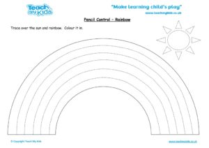 Worksheets for kids - pencil control – rainbow