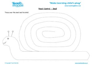 Worksheets for kids - pencil control – snail