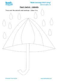 Worksheets for kids - pencil control – umbrella
