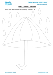 Worksheets for kids - pencil control – umbrella