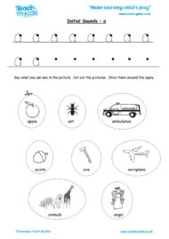 Worksheets for kids - initial sounds-a