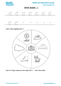 Worksheets for kids - initial sounds-c