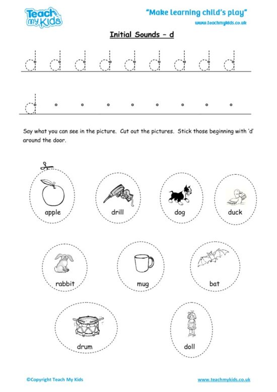 Worksheets for kids - initial sounds-d
