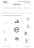 Worksheets for kids - initial sounds-e