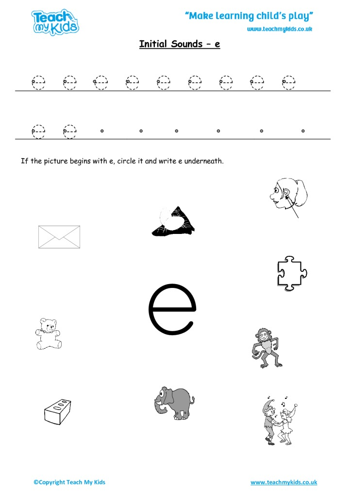 Initial Sounds E Tmk Education. Initial Sounds E. Worksheet. Worksheet For Qu Sound At Mspartners.co