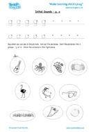 Worksheets for kids - initial sounds-g,o