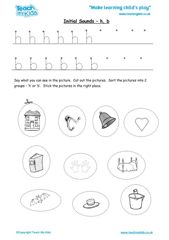 Worksheets for kids - initial sounds-h,b