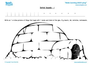 Worksheets for kids - initial sounds-i