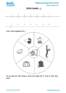Worksheets for kids - initial sounds-j