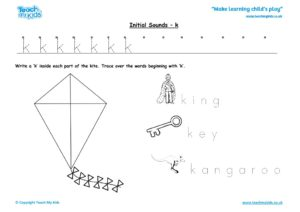 Worksheets for kids - initial sounds-k