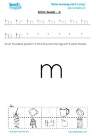 Worksheets for kids - initial sounds-m